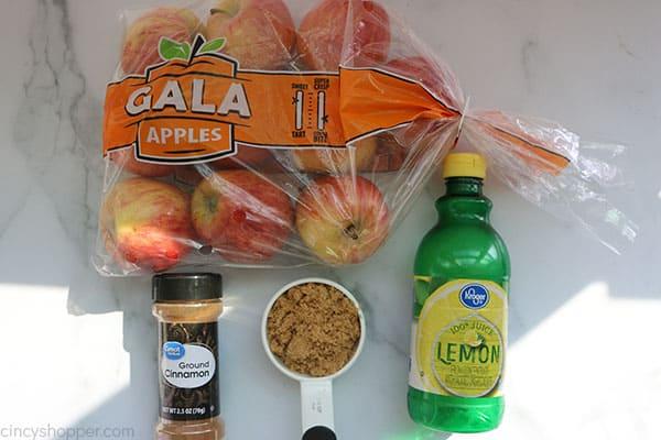 Ingredients to make applesauce