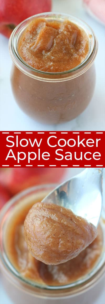 Long collage of Slow Cooker Applesauce
