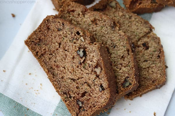 Slices of fresh zucchini bread.
