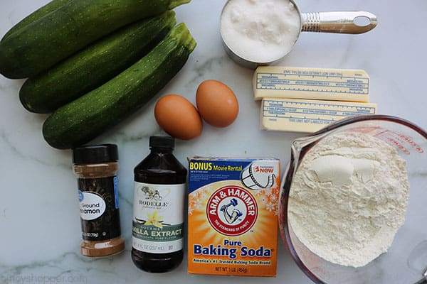 Ingredients to make the best zucchini bread.