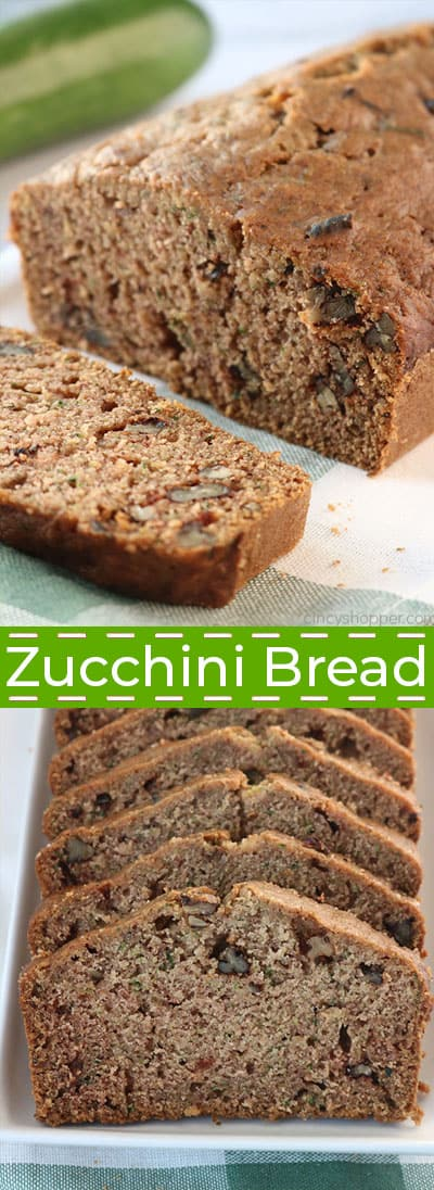 Zucchini bread loaf and slices.