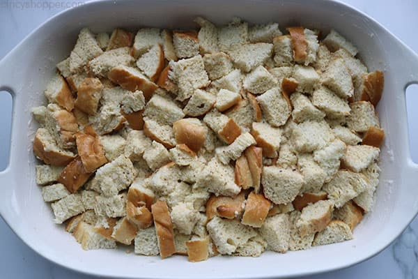 French Toast Bread Cubes in prepared casserole dish.