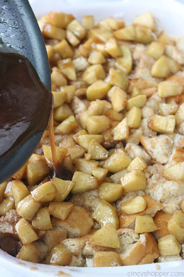 Apple mixture added to french toast casserole.