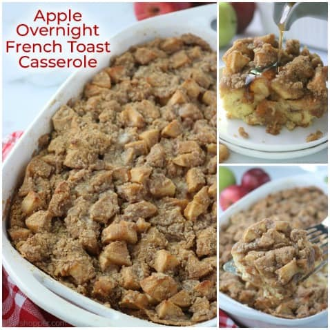 Small collage of Apple breakfast casserole.