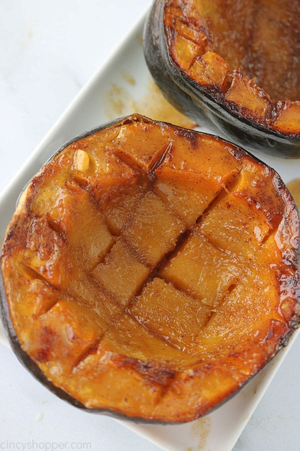 Brown Sugar Baked Squash on a white plate