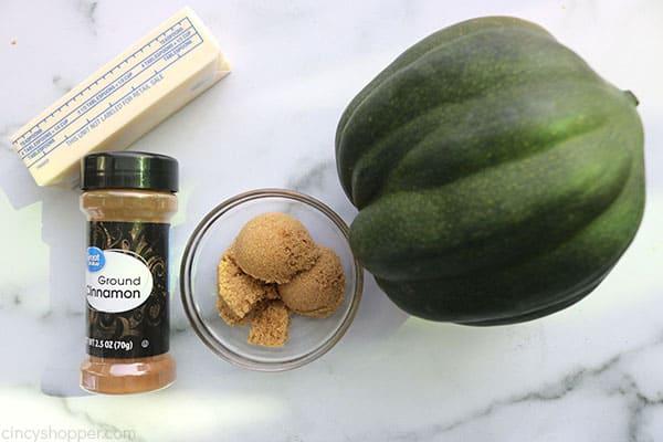 Ingredients to make Brown Sugar Baked Acorn Squash