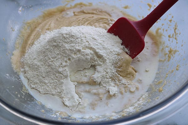 Mixing apple bread batter with a spatula.