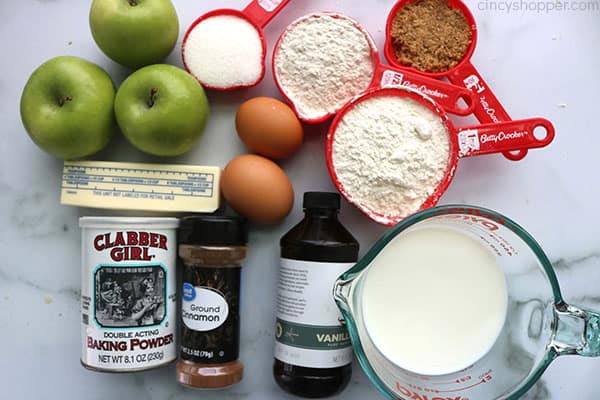 Ingredients for Apple Bread Recipe.
