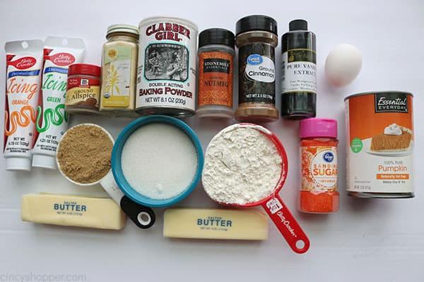 Ingredients to make Cutout Pumpkin Cookies