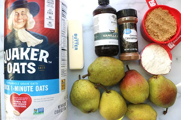 Ingredients to make Easy Pear Crisp.