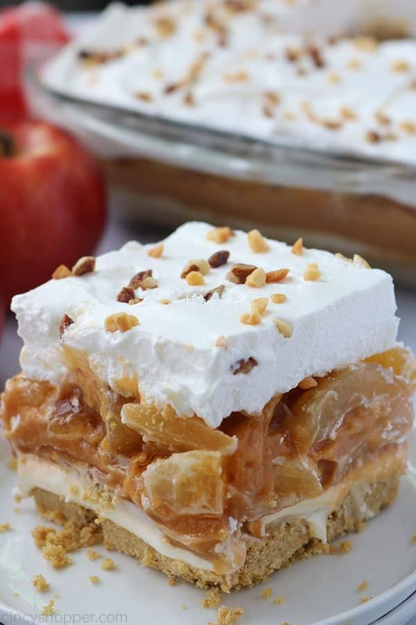 No Bake Caramel Apple Lush Bar on a plate.
