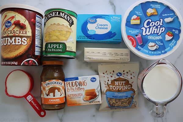 Ingredients to make Caramel Apple Lush Bars