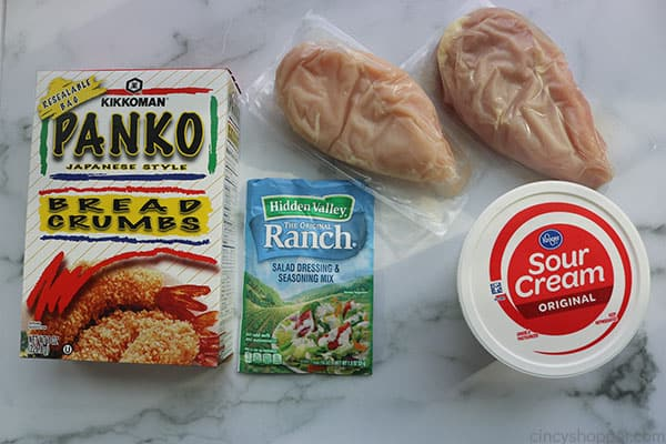 Ingredients to make ranch baked chicken breasts.