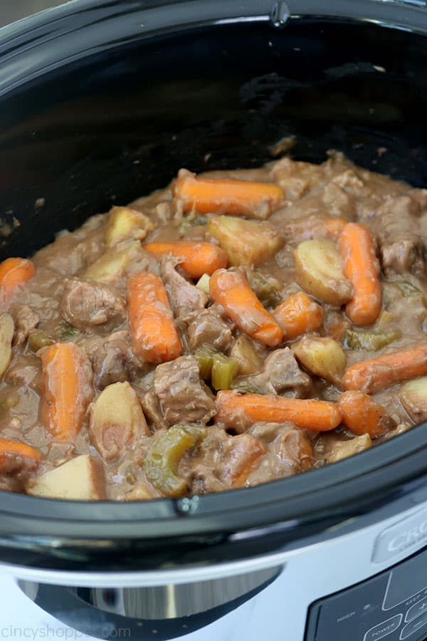 Beef stew in a slow cooker.
