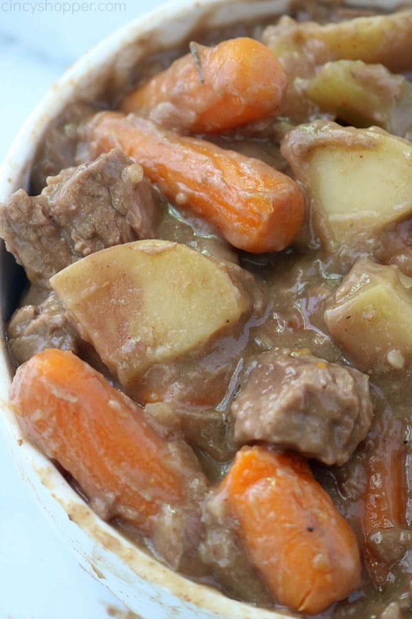 Crock Pot Beef Stew with potatoes and carrots in a bowl.