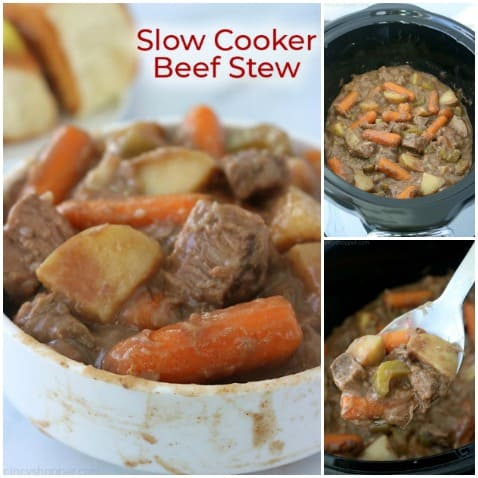 Three images of Slow Cooker Beef Stew.