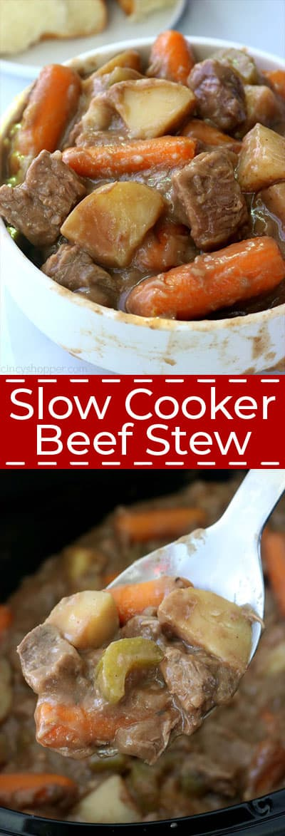 Slow Cooker Beef Stew.in a bowl and on a spoon.