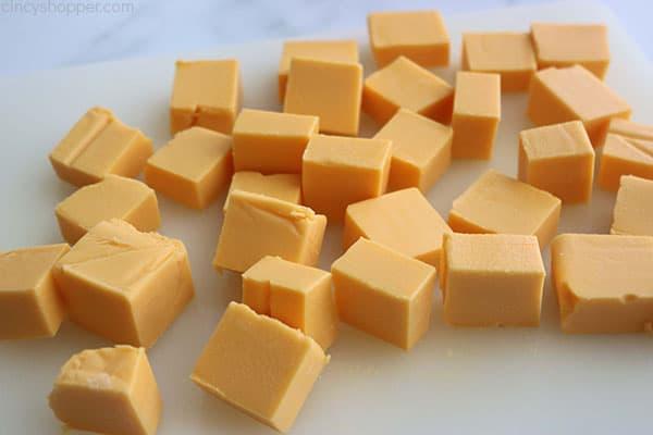 Cubed Velveeta Cheese for broccoli soup.