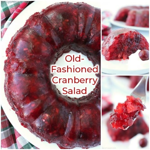 Collage images of Cranberry Jello Mold