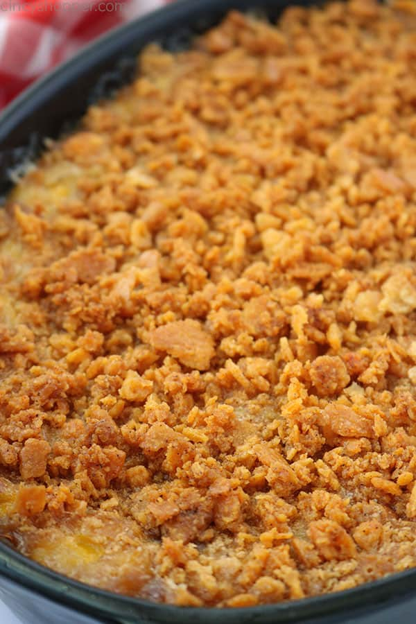 Scalloped Corn Casserole with Ritz topping.