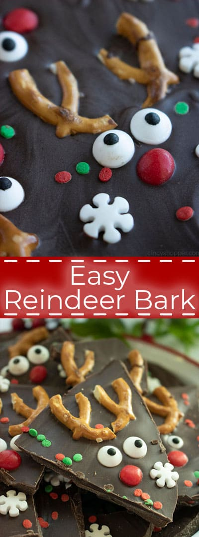 Easy Christmas Bark with Reindeer
