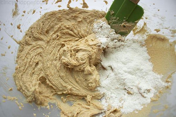 Mixing peanut butter cookie dough