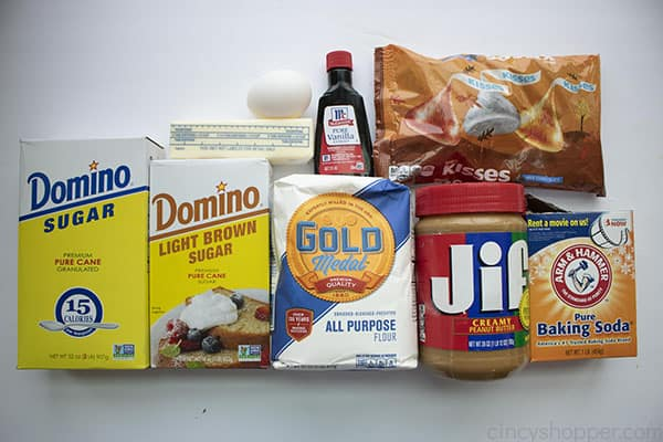 Ingredients for Peanut Butter Blossom Cookies