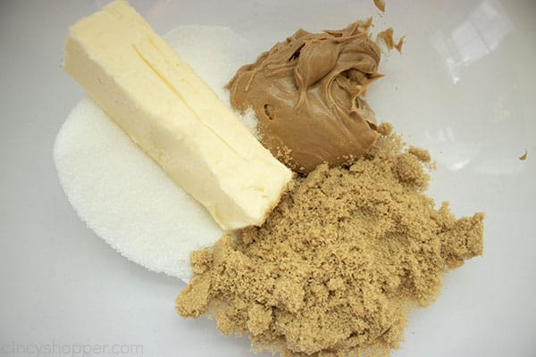 Wet ingredients for Peanut Butter Blossom Cookies