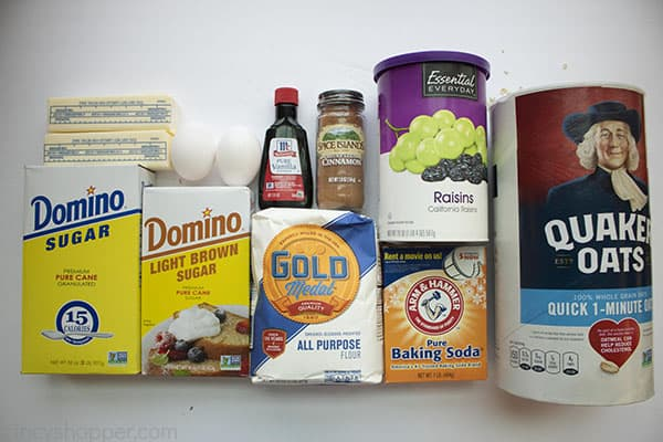 Ingredients to make Oatmeal Raisin Cookies