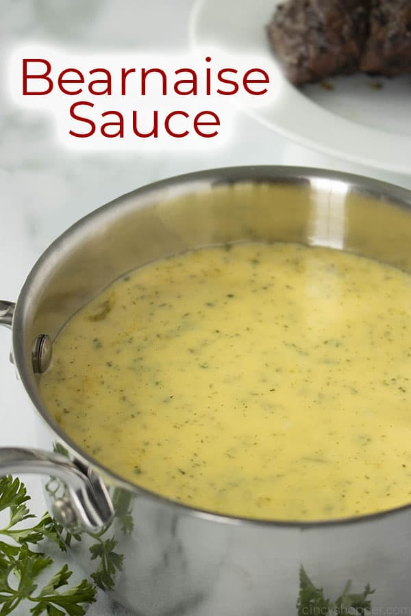 bearnaise sauce recipe in a sauce pan