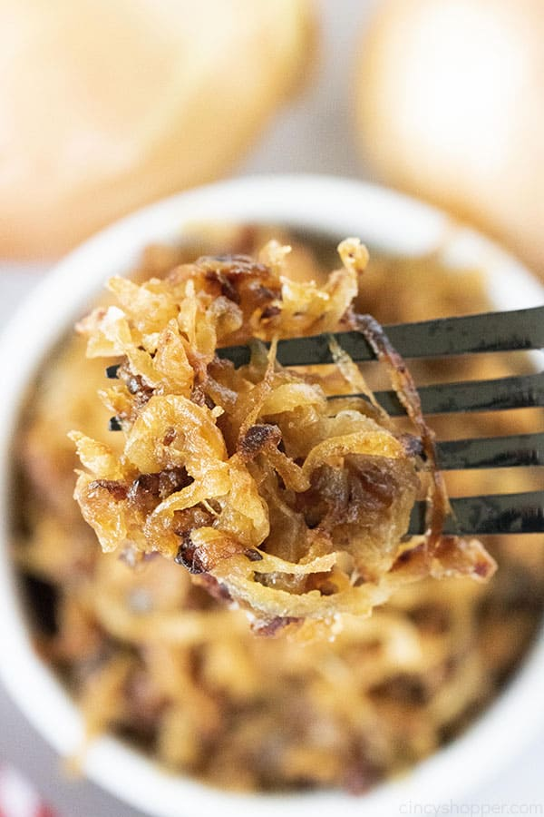 golden brown caramelized onions on a fork