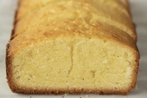 close up of inside of homemade pound cake