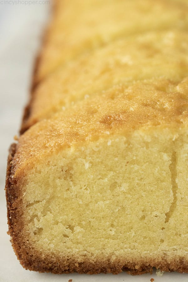 close up of a moist pound cake recipe