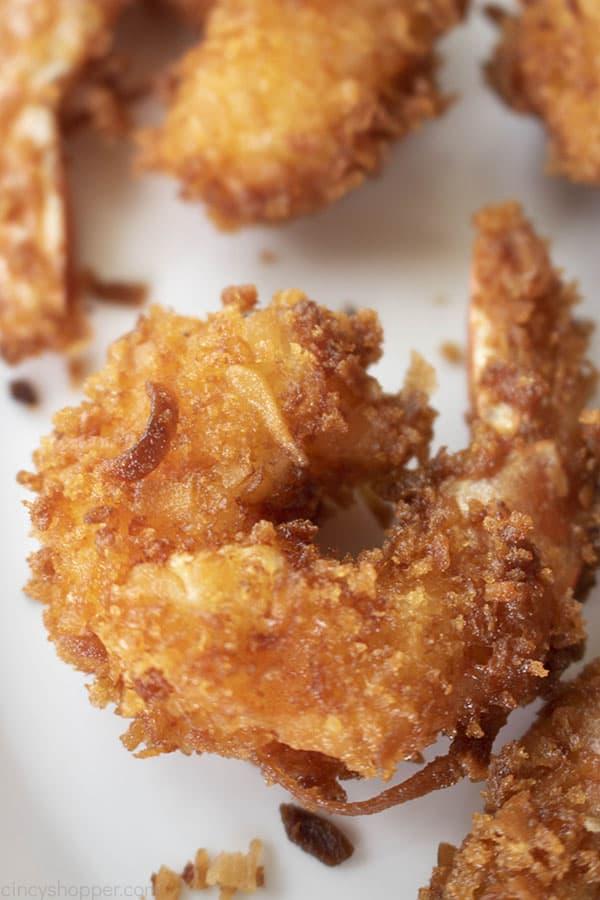 close up of coconut fried shrimp