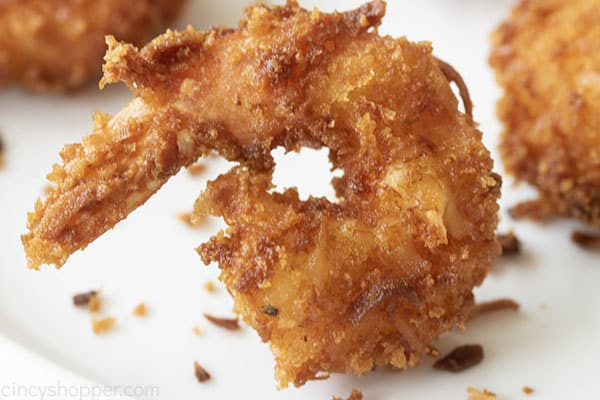 close up of a fried shrimp