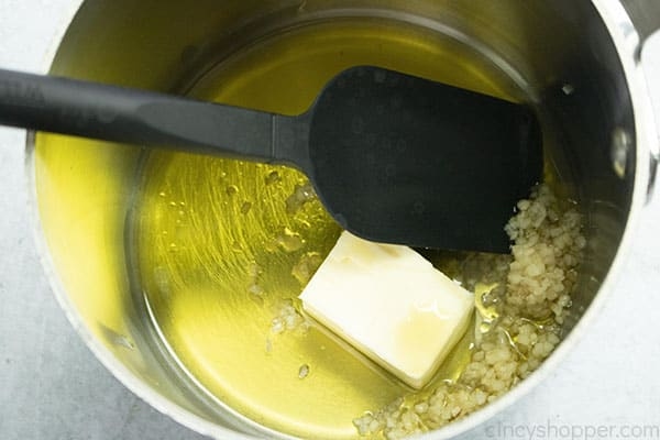 Butter, oil and garlic in a sauce pan