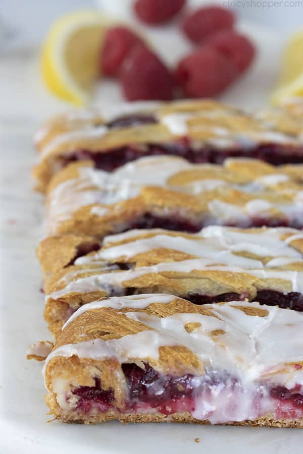 braided crescent roll dessert with raspberry filling