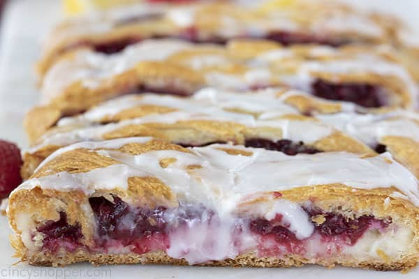 close up image of homemade raspberry breakfast pastry