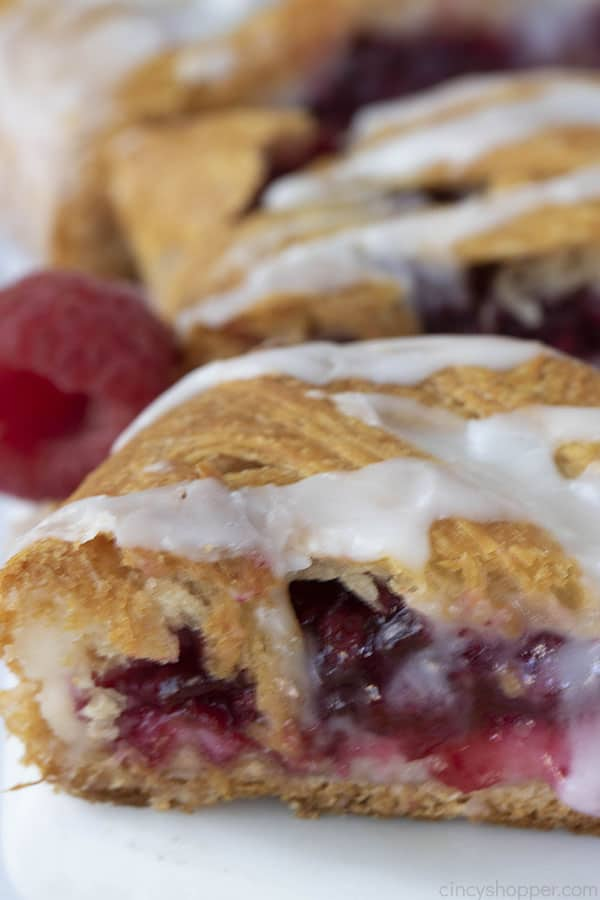 simple raspberry dessert made with crescent roll dough