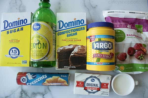 ingredients to make a raspberry dessert with refrigerated crescent roll dough