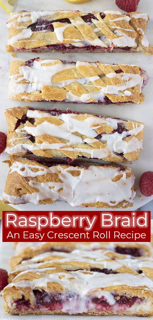 slices of raspberry braid crescent roll pastry
