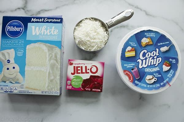 Ingredients to make Raspberry and Coconut Poke Cake