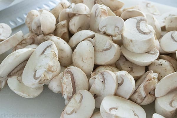 raw sliced mushrooms