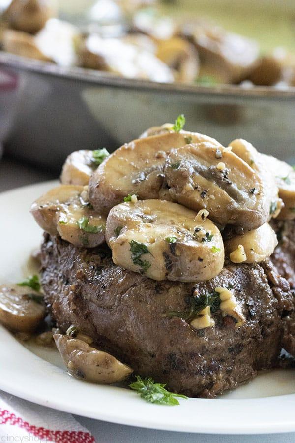 sauteed mushrooms on steak