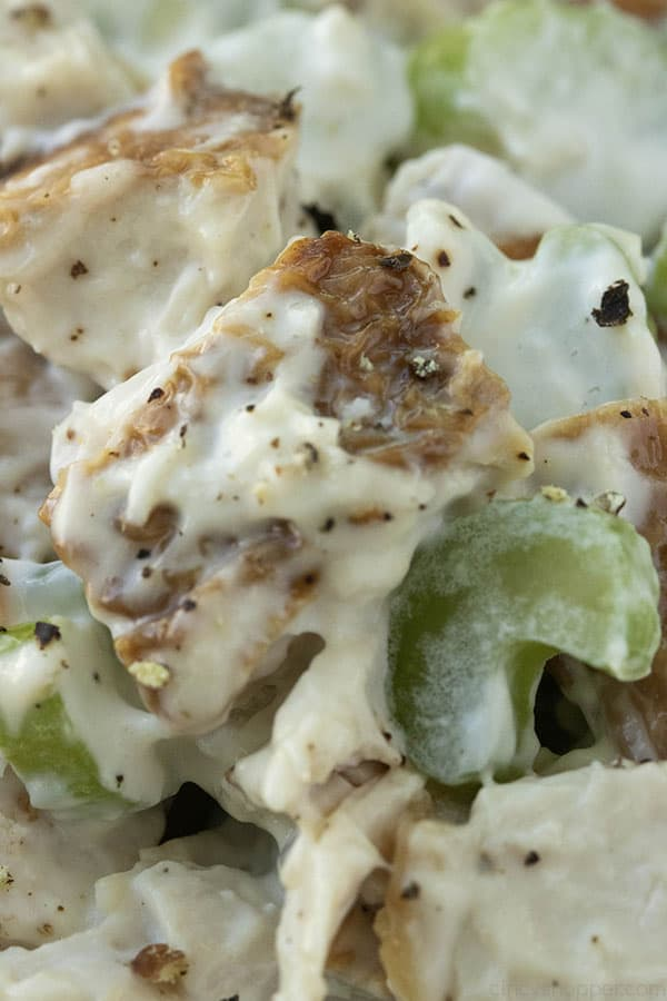 close up image of cubes of chicken and celery covered with mayo dressing