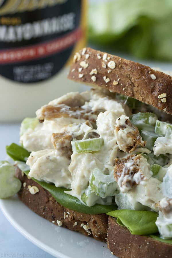 cold chicken salad sandwich with lettuce