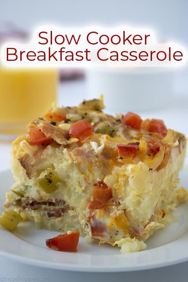 slice of breakfast hashbrown casserole on white plate