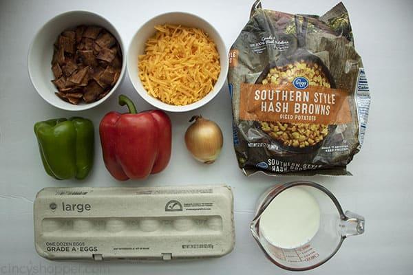 ingredients to make crock pot breakfast casserole