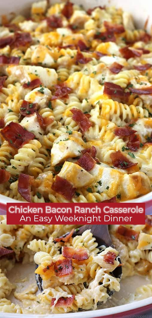 Long collage of Chicken Ranch Casserole