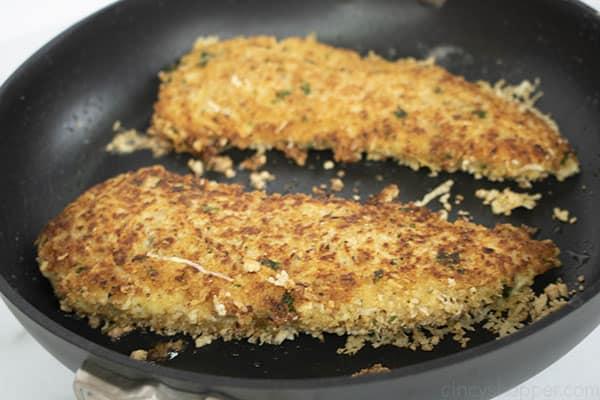 pan frying breaded chicken breasts